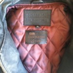 Custom leather label installed in a Golden Bear biker style jacket.