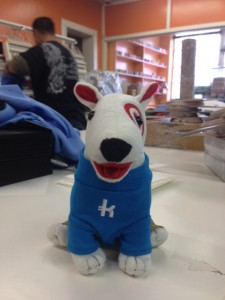 Here's the toydog, in his new t-shirt. We heard these were a real hit at their meeting with the Target executives.